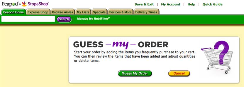 Peapod Guess My Order