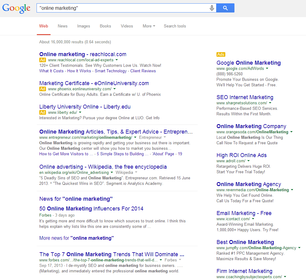 Online Marketing SERP Quotes