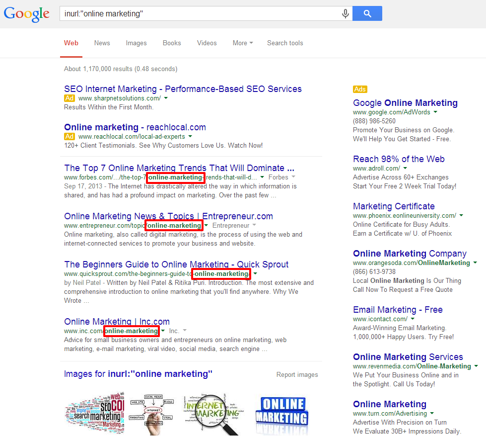 Online Marketing SERP inurl with boxes
