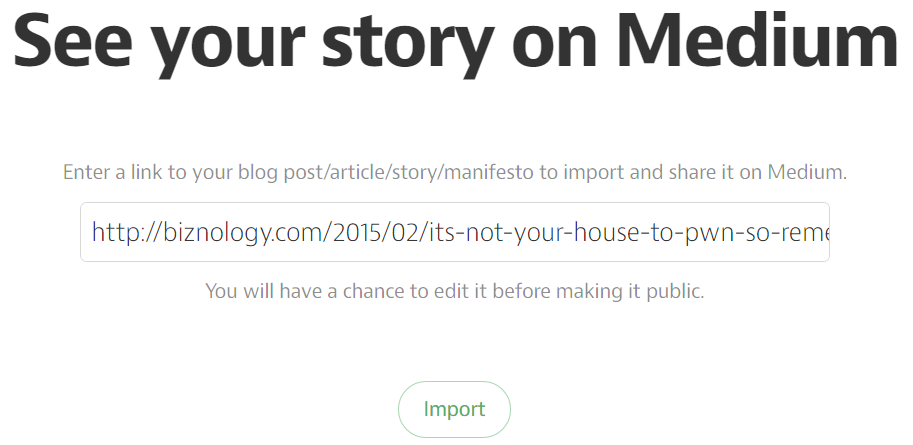 Import your story on Medium.com