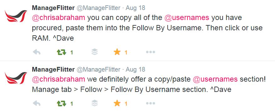 Manage Flitter on Twitter