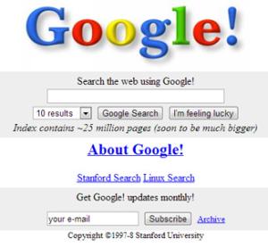 Original Google Seach 1997 Stanford