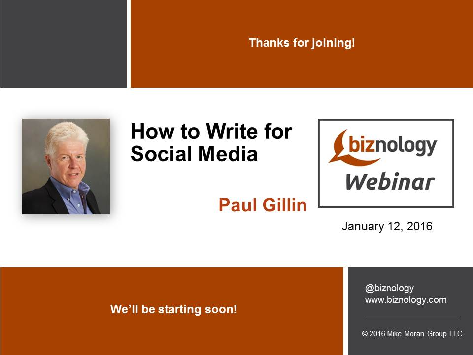 writing for social media Writing for social media and the web introduces students to professional writing in the context of online media students apply social media-specific strategies to write a variety of assignments including weekly blog entries, a critical review, a web page, a process analysis incorporating seo (search engline optimization), and revisions of.