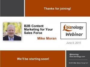 B2B content marketing for your sales force
