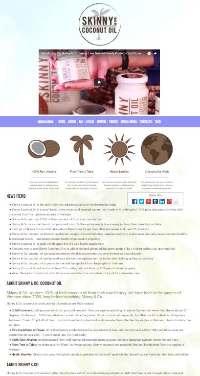 skinny coconut oil social media news release (smnr)