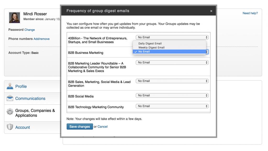LinkedIn Group Email Setting - Mindi Rosser - Biznology