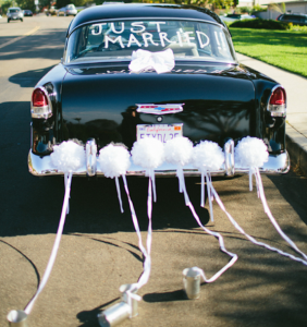 Just Married Car and Cans