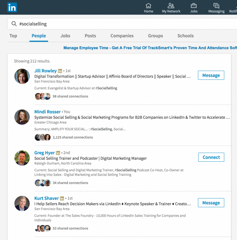 LinkedIn Hashtags Search - Mindi Rosser
