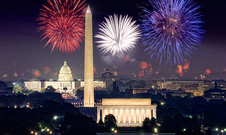 4th of july independence day fireworks in washington dc usa