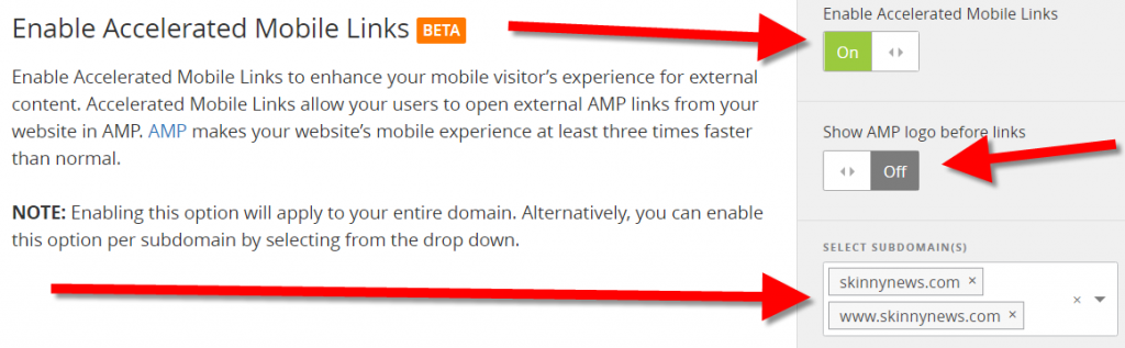 Enable Accelerated Mobile Links to enhance your mobile visitor's experience for external content.