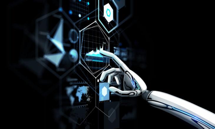 robot hand touching virtual screen over black